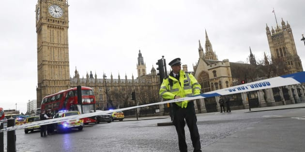 Police tapes off Parliament Square after reports of loud bangs, in London, Britain, March 22, 2017.