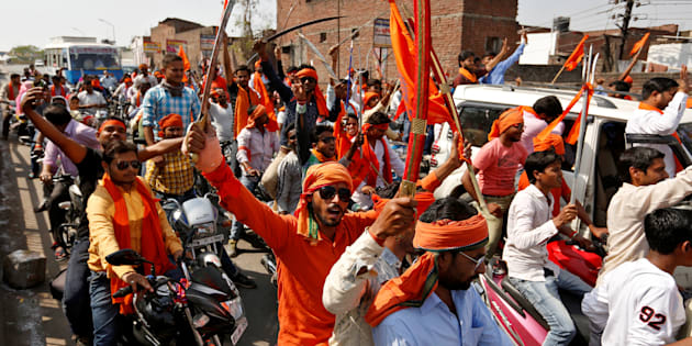 REPRESENTATIVE IMAGE: Hindu Yuva Vahini vigilante members take part in a rally in the city of Unnao, India, April 5, 2017.
