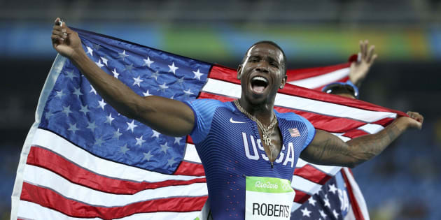 ギル・ロバーツ選手=2016年8月20日、リオ五輪男子400m×4リレー決勝