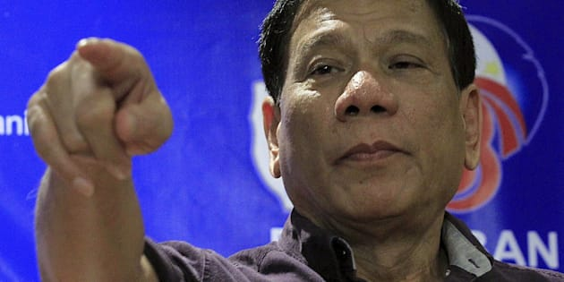 Rodrigo Duterte, a seven-term Philippine mayor, gestures while making a point during a ceremony proclaiming him as a presidential candidate at a hotel in Manila November 30, 2015. REUTERS/Romeo Ranoco