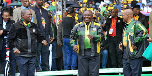 ANC's top  leaders,  Zweli Mkhize, Cyril Ramaphosa and President Jacob Zuma during the organization's 105th birthday celebrations on January 8, 2017 at the at Orlando Stadium in Soweto .The ANC held its annual January 8th statement at the Orlando stadium.
