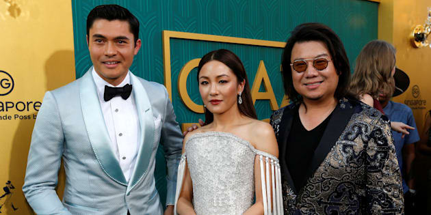 "Author Kevin Kwan (R) and cast members Henry Golding and Constance Wu pose at the ""Crazy Rich Asians"" premiere in Los Angeles on Aug. 7."