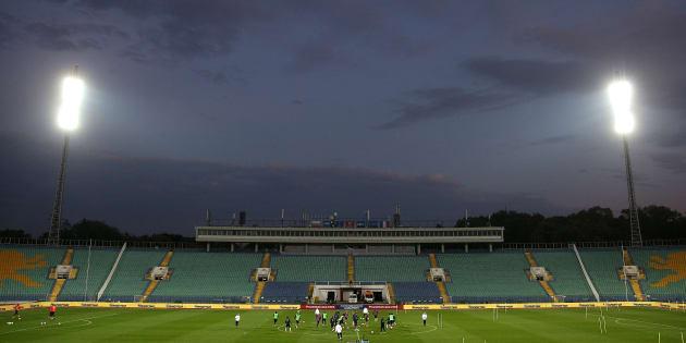 L'équipe de France à l'entraînement au stade Vassil-Levski de Sofia le 6 octobre 2017.