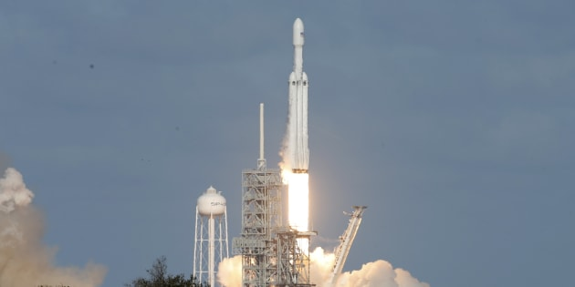 A SpaceX Falcon Heavy rocket lifts off from historic launch pad 39-A at the Kennedy Space Center in Cape Canaveral, Fla., Feb. 6, 2018.