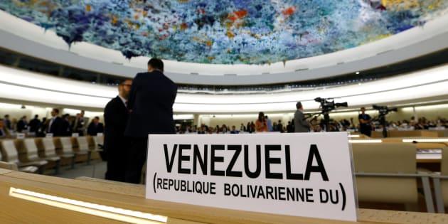 El cartel del lugar asignado a Venezuela en la 36ª Sesión del Consejo de Derechos Humanos, iniciada este lunes en Ginebra (Suiza).