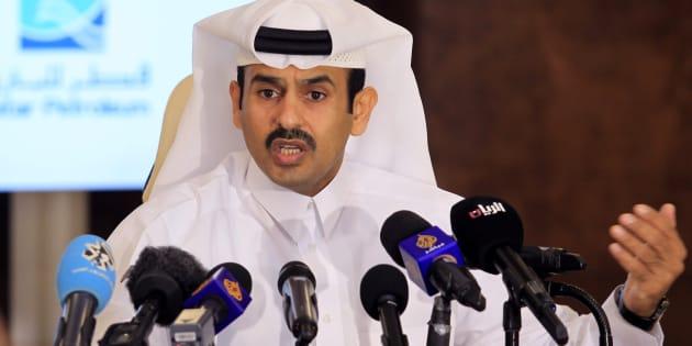 Saad Sherida al Kaabi, presidente de Qatar Petroleum, durante la rueda de prensa en Doha.
