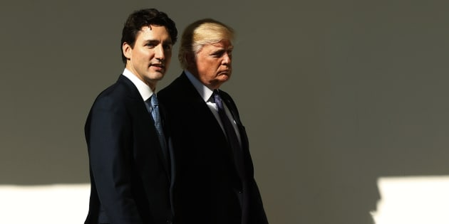 U.S. President Donald Trump, left, greets Justin Trudeau, Canada's prime minister, as he arrives to the West Wing of the White House in Washington, D.C., U.S., on Monday, Feb. 13, 2017. Trudeau, hailed by Joe Biden as one of the last champions of liberalism, heads to Washington for his first meeting with Trump, whose bellicose statements and immigration restrictions reveal a deep gulf between the two leaders. Photographer: Andrew Harrer/Bloomberg via Getty Images