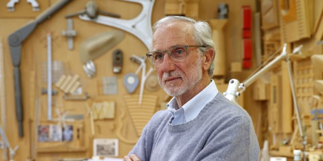 Italian architect Renzo Piano poses at his workshop in Paris, France, May 7, 2015. Piano is the architect who designed the new Paris Courthouse, built on a former industrial zone, the ZAC Paris Clichy-Batignolles, scheduled to open in 2017, will house 90 courtrooms and will host more than 9,000 people daily. The courthouse, measuring 160 meters, will group all services of the Tribunal de Grande Instance of Paris and the police court. REUTERS/Benoit Tessier