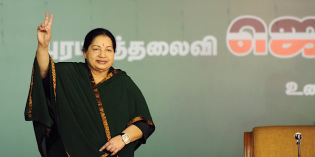 J. Jayalalithaa gestures during a campaign rally in Chennai on April 9, 2016.