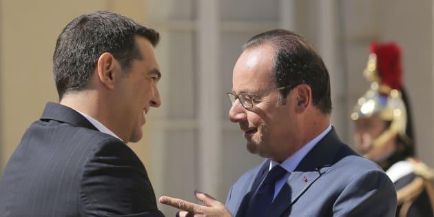 Alexis Tsipras et François Hollande à La Celle Saint-Cloud le 25 août 2016