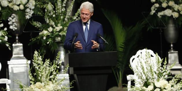 Former US President Bill Clinton speaks during a memorial service for boxing legend Muhammad Ali.