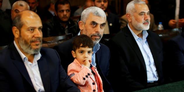 Los principales mandos de Hamás, fotografiados en mayo en Gaza al presentar su nueva hoja de ruta política.