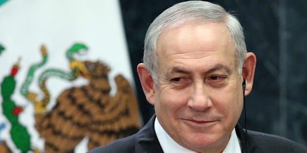 Israeli Prime Minister Benjamin Netanyahu smiles during an address to the media at Los Pinos presidential residence in Mexico City, Mexico, Sept. 14, 2017.