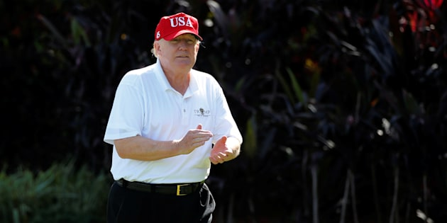 Donald Trump à son golf de West Palm Beach en Floride le 29 décembre 2017.
