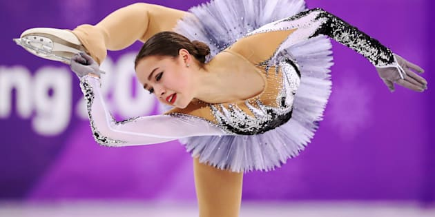 """Alina Zagitova, an Olympic Athlete from Russia, performs Feb. 21, 2018. Zagitova earned a record 82.92 points for her routine to """"Black Swan""""."""