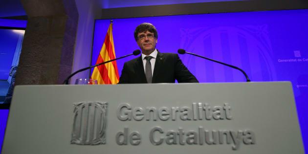 El presidente catalán Carles Puigdemont, durante una rueda de prensa en el Palacio de la Generalitat, el pasado 14 de julio.