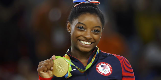 Simone Biles performs on the floor during the artistic gymnastics women's apparatus final at the 2016 Summer Olympics in Rio de Janeiro on Tuesday.