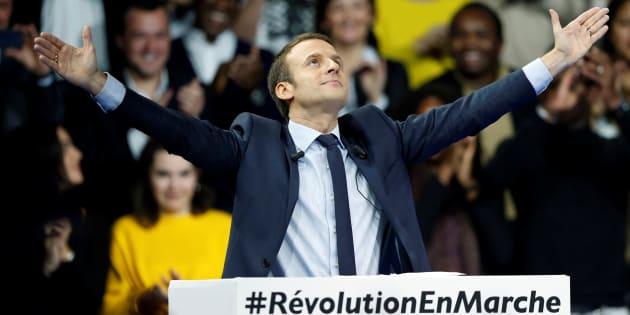 Emmanuel Macron, lors de son meeting le 10 décembre à Paris.
