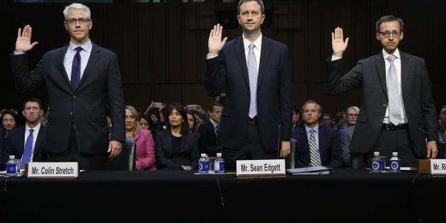 31日に開かれた米上院委員会の公聴会で証言するFacebook, Twitter,Googleの法律顧問
