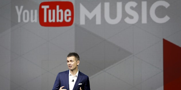 Robert Kyncl, chief business officer for YouTube, talks about YouTube Music during a keynote address at the 2016 CES trade show in Las Vegas, Jan. 7, 2016.