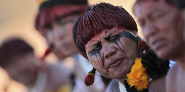 Índios durante ritual de dança no Xingu, em 2012, no Mato Grosso