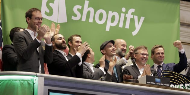 Shopify CEO Tobias Lutke (centre wearing hat) rings the New York Stock Exchange opening bell, marking the Canadian company's IPO, Thursday, May 21, 2015. Shopify Inc. stock has plunged for a second day, following a prominent short-seller's claim that it's running an overvalued get-rich-quick scheme.