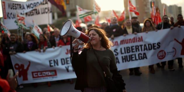 Manifestación de Comisiones Obreras y UGT en Málaga.