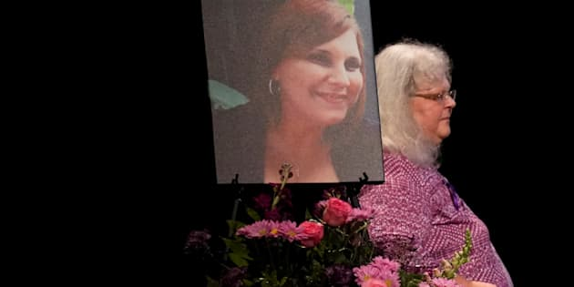 Car attack victim Heather Heyer's mother Susan Bro takes the stage to speak at a memorial service for her daughter at the Paramount Theater in Charlottesville, Virginia, U.S. August 16, 2017.  REUTERS/Jonathan Ernst