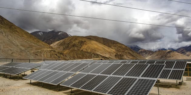 Solar panels in Yarat village, Ladakh. The cold desert of Ladakh has been known as the roof of the world and reportedly a region with huge potential in tapping the solar energy with its vast patches of barren land surrounded by mountains.