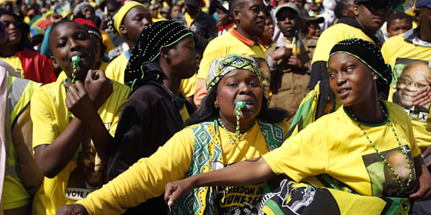JOHANNESBURG, SOUTH AFRICA - JULY 31: Supporters during the African National Congress (ANC) Siyanqoba rally at Ellis Park Stadium on July 31, 2016 in Johannesburg, South Africa. This event is part of the ANC countrywide tour to rally support ahead of the local elections on August 3, 2016.