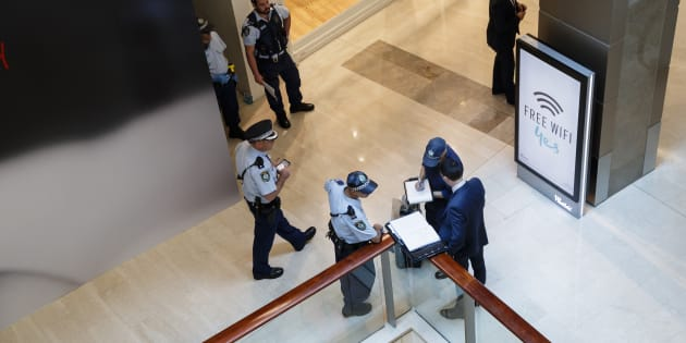 Police attend at Westfield Bondi Junction after a dead body was found in the stairwell on level four of the complex.