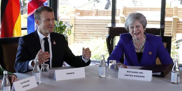 Emmanuel Macron et Thersea May lors du G7 au mois de juin.