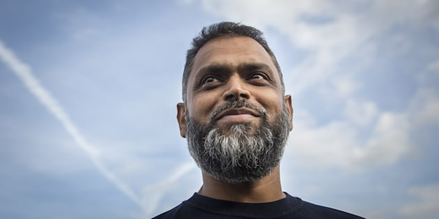 Moazzam Begg speaks to journalists after being released from Belmarsh Prison on Oct. 1, 2014 in London, England.