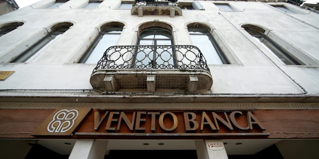FILE PHOTO: The logo of Veneto Banca bank is seen in Venice, Italy, January 31 2016. REUTERS/Alessandro Bianchi/File Photo