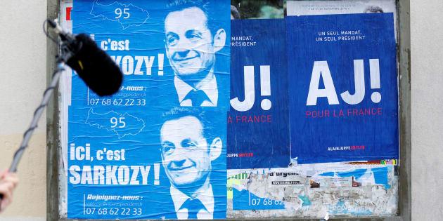 Les affiches des candidats à la primaire Nicolas Sarkozy et Alain Juppé.
