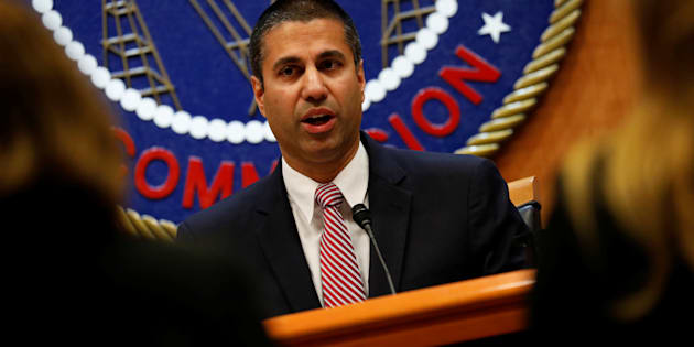 Chairman Ajit Pai speaks ahead of the vote on the repeal of so-called net neutrality rules at the Federal Communications Commission in Washington, D.C. on Dec. 14, 2017.
