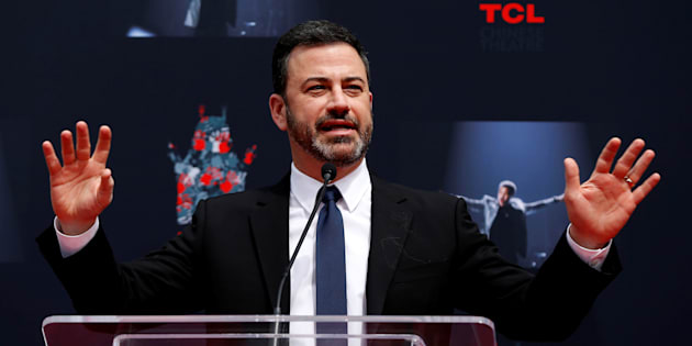 Television host Jimmy Kimmel speaks at a ceremony for recording artist Lionel Richie to place his handprints and footprints in cement in the forecourt of the TCL Chinese theatre in Los Angeles on March 7, 2018.