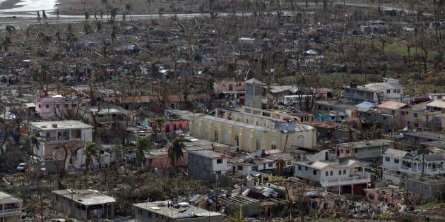Des maisons détruites par l'ouragan Matthew à Coteaux en Haïti, le 10 octobre 2016