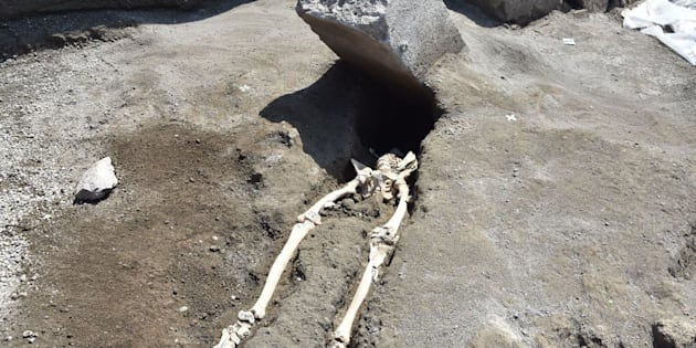 A skeleton of a victim recently found in the new work area of Regio V in the archaeological site of Pompeii, the ancient Roman town buried by the eruption of the Vesuvius volcano on 79 AD.