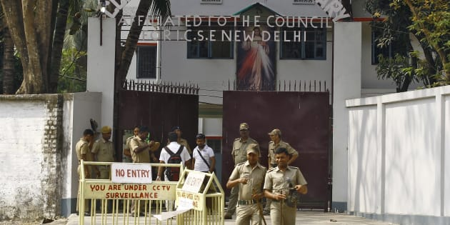 A file photo of police outside the Convent of Jesus and Mary school in Ranaghat in West Bengal.
