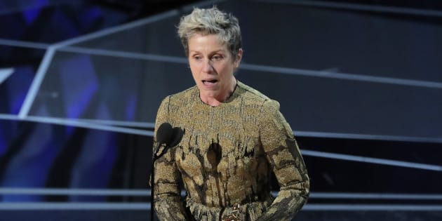 "Frances McDormand accepts the Oscar for Best Actress for ""Three Billboards Outside Ebbing, Missouri."""