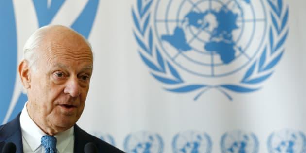 El enviado especial de Naciones Unidas para Siria, Staffan de Mistura, esta mañana atendiendo a los medios en Ginebra (Suiza).