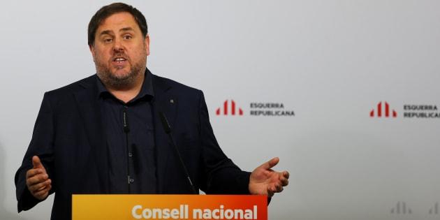El vicepresidente catalán, Oriol Junqueras, el pasado 14 de octubre, en el consejo nacional de su formación, ERC, en Barcelona.