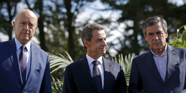 Alain Juppé, Nicolas Sarkozy et François Fillon à l'université d'été des Républicains en décembre 2015.