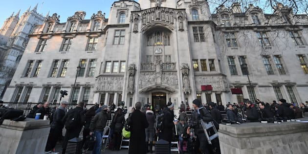 Campaigners and media gathered for the decision at the Supreme Court in London