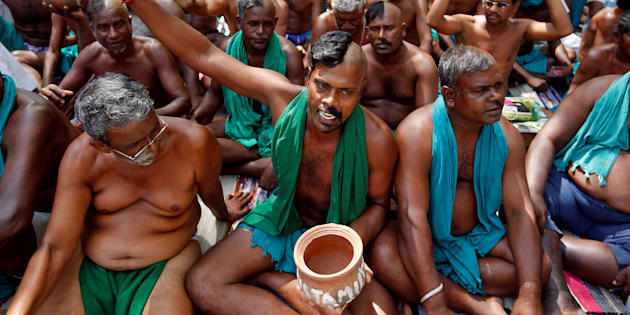 File photo of Tamil Nadu farmers protesting at Jantar Mantar, New Delhi.