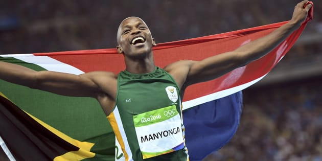 Luvo Manyonga (RSA) of South Africa celebrates after winning the silver medal in the long jump final at the Rio Olympics.