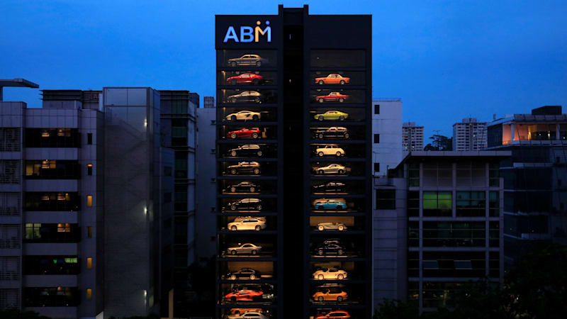 Building-sized vending machine deposits luxury cars
