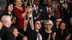 Gli eroi americani e un messaggio a Kim sul palco dei
