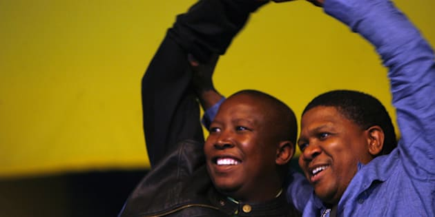 Outgoing ANC Youth League president Fikile Mbalula and Julius Malema at the ANCYL presidential elections on 7 April 2008 in Johannesburg, South Africa.